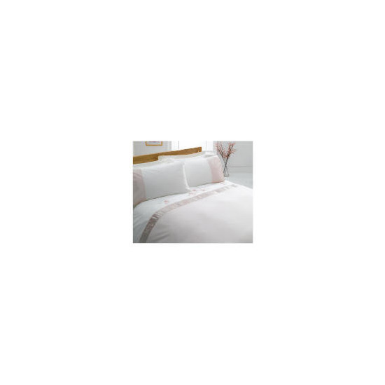Tesco Ameile Luxury Embroidered Double Duvet Set, Pink