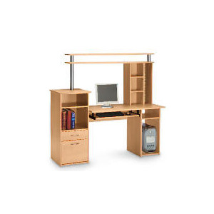 Photo of Cambridge Workstation and Storage Hutch, Beech Effect Computer Desk