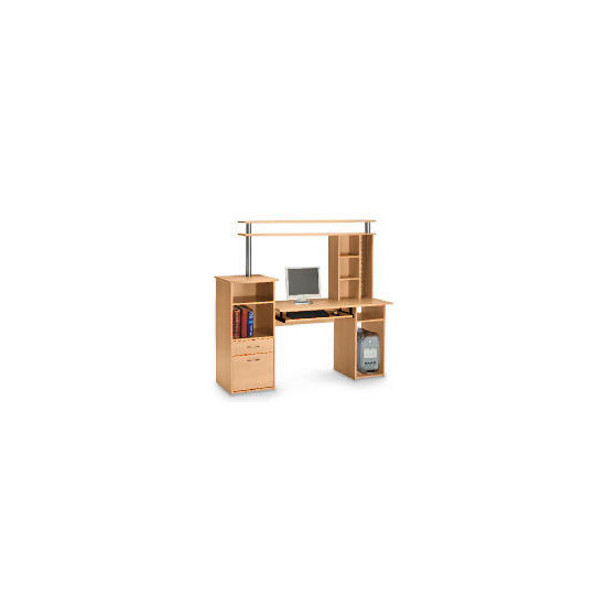 Cambridge workstation and storage hutch, beech effect