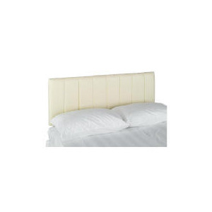 Photo of Haddon Faux Leather King Headboard, Cream Bedding