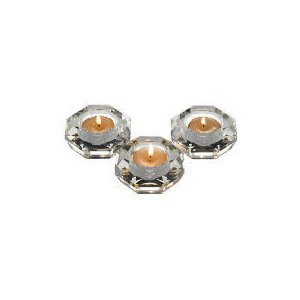 Photo of Tesco Optic Glass Tealight Holder Pack Of 3 Home Miscellaneou