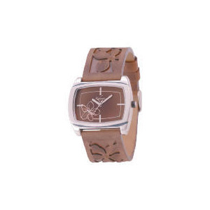 Photo of Kahuna Ladies Brown Emmbossed Strap Floral Watch Jewellery Woman