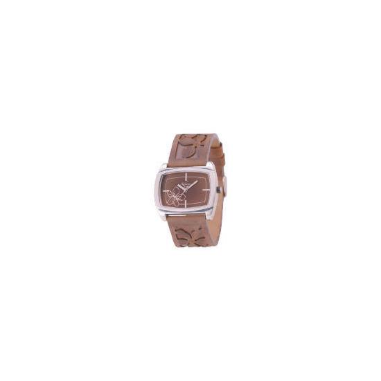 Kahuna ladies brown emmbossed strap floral watch