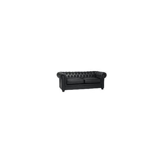 Chesterfield Large Leather Sofa, Black