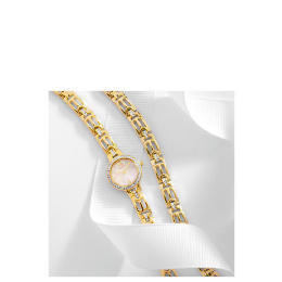 Accurist ladies watch and bracelet set gold stone set round dial Reviews