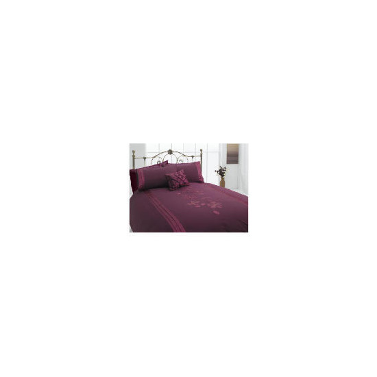 Tesco Applique King Duvet Set, Plum