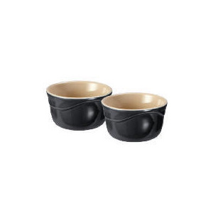 Photo of Le Creuset Curve Stoneware Ramekins - Pack Of 2 (0.2L)  Colour Jet Black Cookware