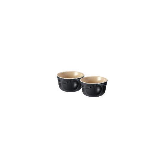 Le Creuset Curve stoneware ramekins - pack of 2 (0.2L)  colour Jet Black