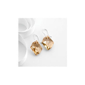 Photo of Sterling Silver Golden Shadow Swarovski Crystal Earrings Jewellery Woman