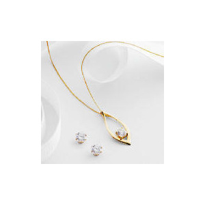 Photo of 9CT Gold Cubic Zirconia Pendant and Earring Set Jewellery Woman