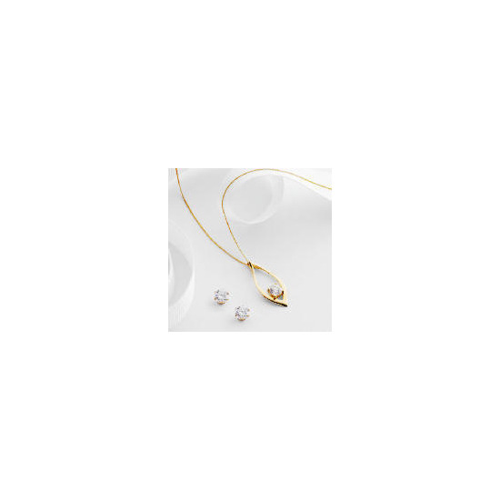 9ct Gold Cubic Zirconia Pendant and Earring set