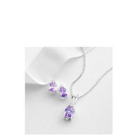 Sterling Silver Lavender and White Cubic Zirconia Pendant and Earring set Reviews