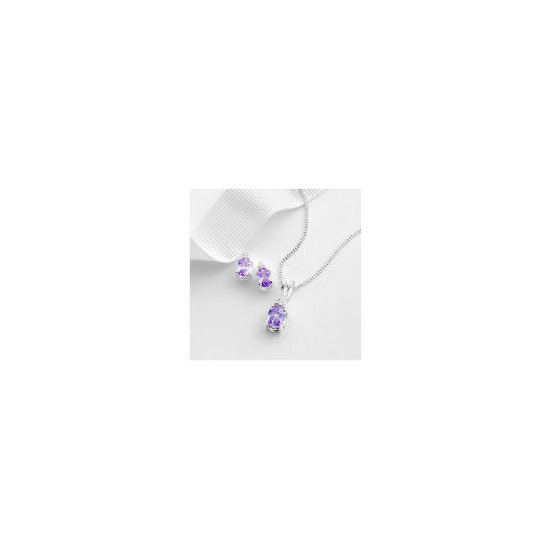 Sterling Silver Lavender and White Cubic Zirconia Pendant and Earring set
