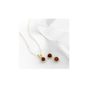 Photo of 9CT Gold Garnet Earring and Pendant Set Jewellery Woman