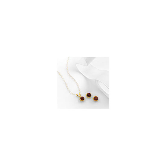 9ct gold garnet earring and pendant set