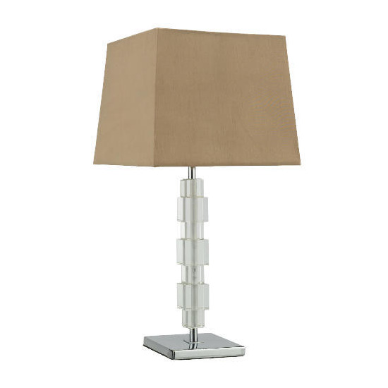 Tesco Block Table Lamp With Mocha Silk Effect Shade