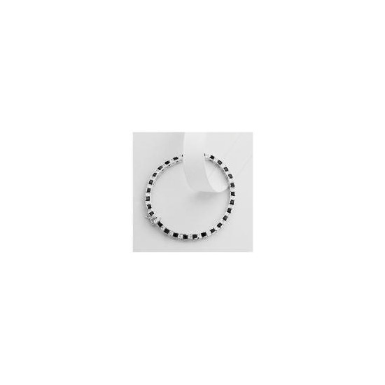 Sterling Silver Black and White Cubic Zirconia Bracelet