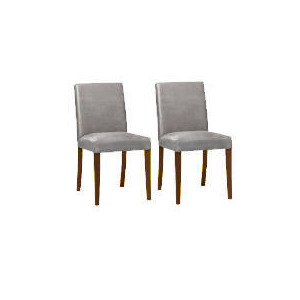 Photo of Pair Of Special Edition Sorrento Low Back Upholstered Chairs, Charcoal Faux Suede With Walnut Stained Beech Legs Furniture