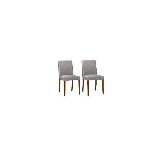 Pair of Special Edition Sorrento low back upholstered Chairs, Charcoal Faux Suede with Walnut Stained Beech legs