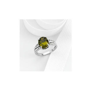 Photo of Sterling Silver Green Cubic Zirconia Ring Jewellery Men