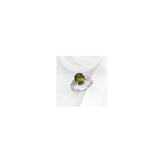 Sterling Silver Green Cubic Zirconia Ring