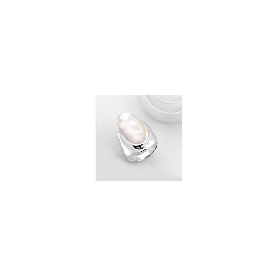 Sterling Silver Mother of Pearl Ring, Large