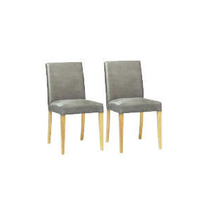 Photo of Pair Of Special Edition Sorrento Low Back Upholstered Chairs, Charcoal Faux Suede With Oak Legs Furniture