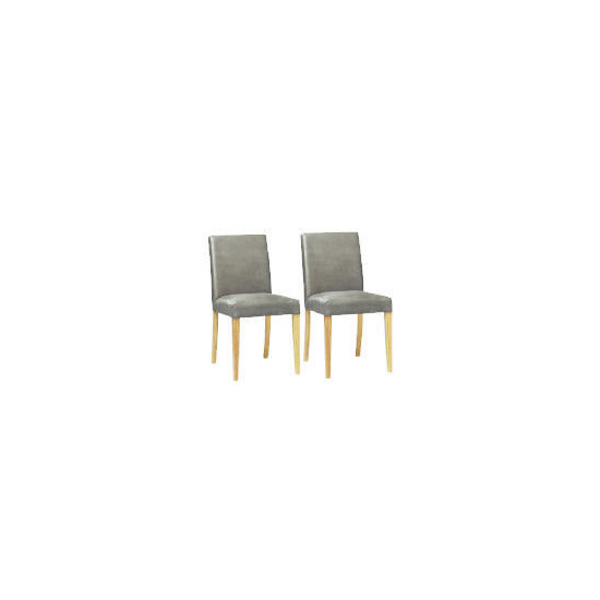 Pair of Special Edition Sorrento low back upholstered Chairs, Charcoal Faux Suede with Oak legs