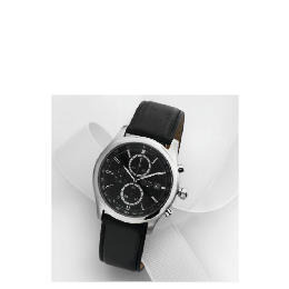 Accurist mens black chrono with black leather strap Reviews