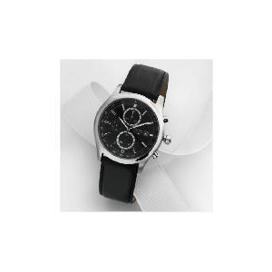 Photo of Accurist Mens Black Chrono With Black Leather Strap Watches Man