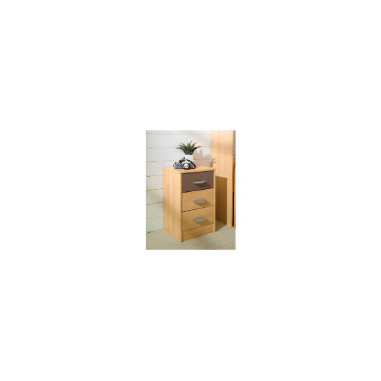 Shake 3 drawer Bedside Chest, Chocolate