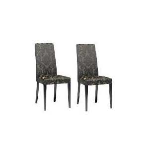 Photo of Pair Of Special Edition Lucca  High Back Upholstered Chairs, Black Damask With Black Legs Furniture