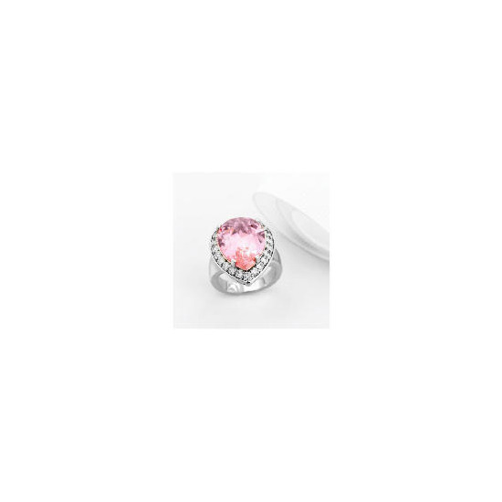 Adrian Buckley Pink and White Cubic Zirconia Ring, Small