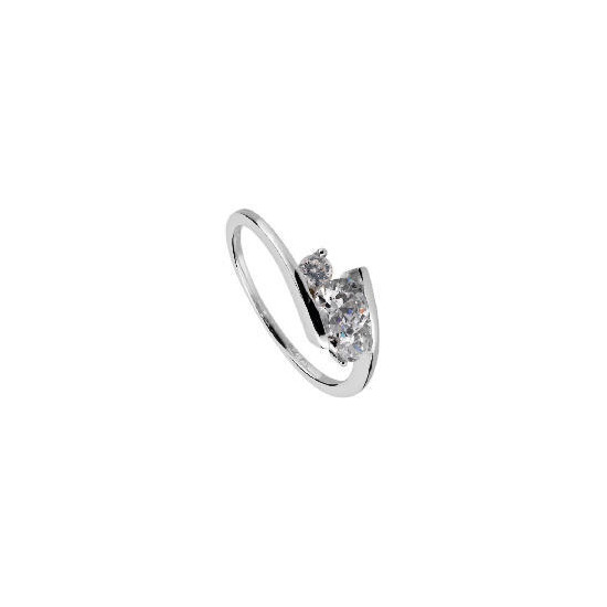 9ct White Gold Cubic Zirconia Ring  N