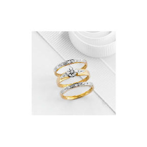 Photo of 9CT Gold 13PT Diamond Bridal Ring Set m Jewellery Woman