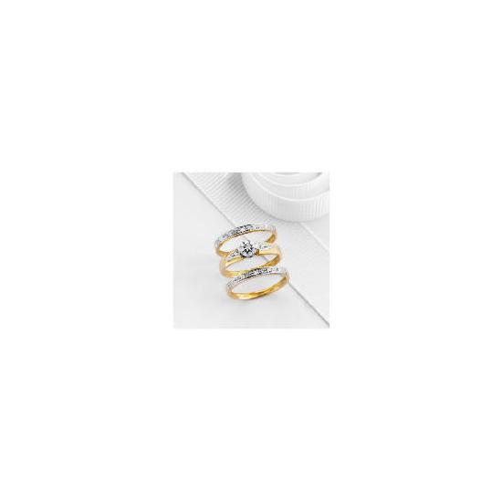 9ct Gold 13pt Diamond Bridal Ring Set M