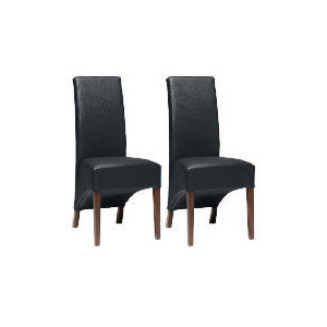 Photo of Pair Of Monterosso Chairs, Black Leather With Walnut Stained Beech Legs Furniture