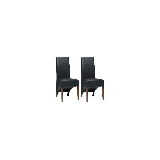 Pair of Monterosso Chairs, Black Leather with Walnut Stained Beech legs