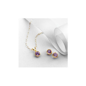 Photo of 9CT Gold Amethyst Earring and Pendant Set Jewellery Woman