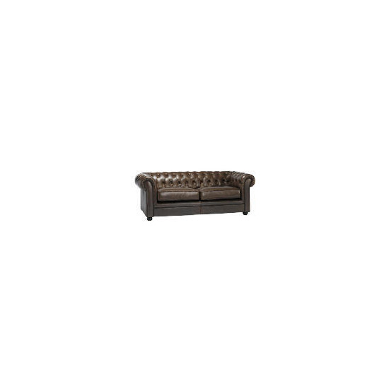 Chesterfield Large Leather Sofa, Brown