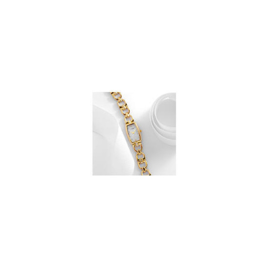 Accurist ladies gold stone set d-link with mop dial bracelet