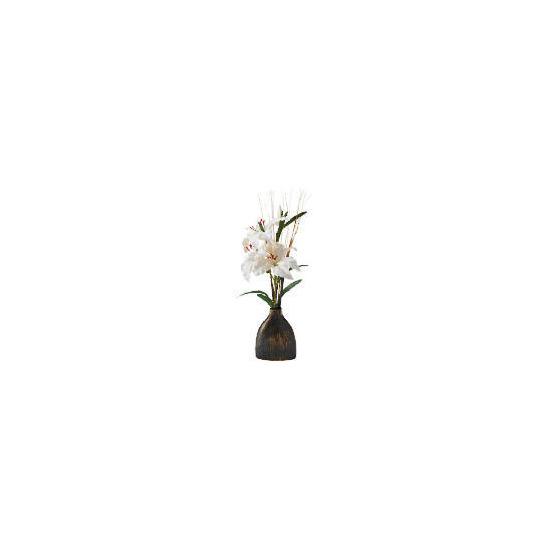 White Lillies In Ceramic Scratch Vase