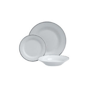 Photo of Tesco Porcelain Dinner Set Platinum Colour Band 12PCE Dinnerware