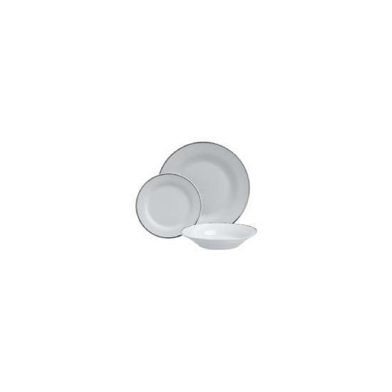 Tesco Porcelain Dinner set Platinum Colour band 12pce