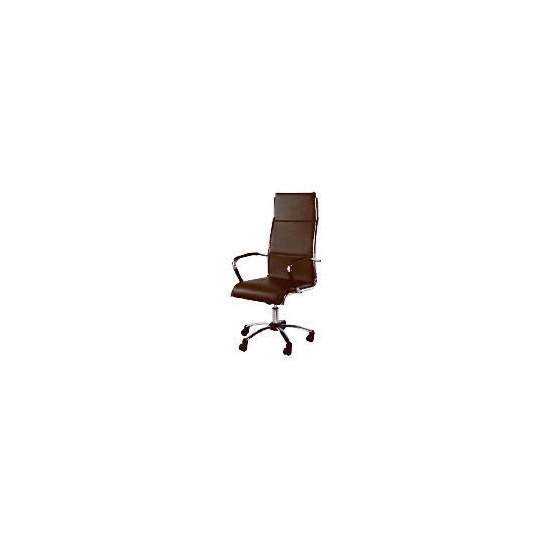 Trenton High back office chair, Brown faux leather