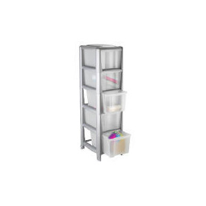 Photo of Tesco Slim 5 Drawer Cart Silver Household Storage