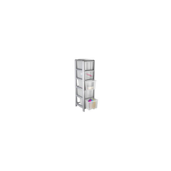 Tesco slim 5 drawer cart silver