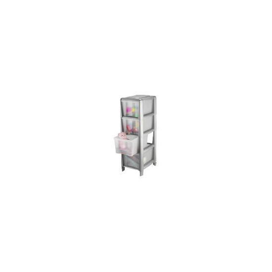 Tesco slim 4 drawer cart silver