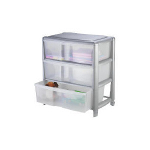 Photo of Tesco Wide 3 Drawer Cart Silver Household Storage