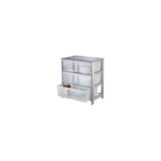 Tesco wide 3 drawer cart silver